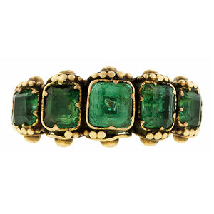 Georgian Emerald Five Stone Ring:: Doyle & Doyle