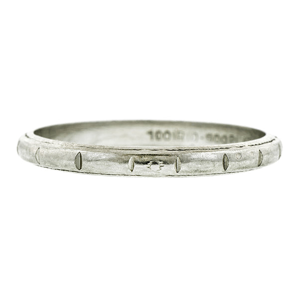 Vintage Patterned Wedding Band, a Platinum Wedding Band Ring, sold by Doyle & Doyle vintage and antique jewelry boutique.
