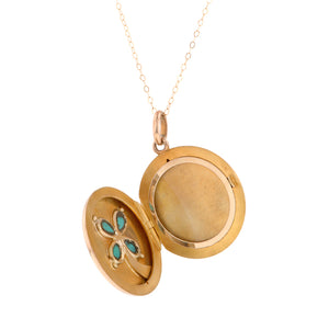 Turquoise & Diamond Round Locket