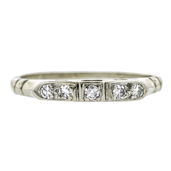 Vintage ring: a White Gold Diamond Wedding Band, Single Cut 0.15ctw sold by Doyle & Doyle vintage and antique jewelry boutique.