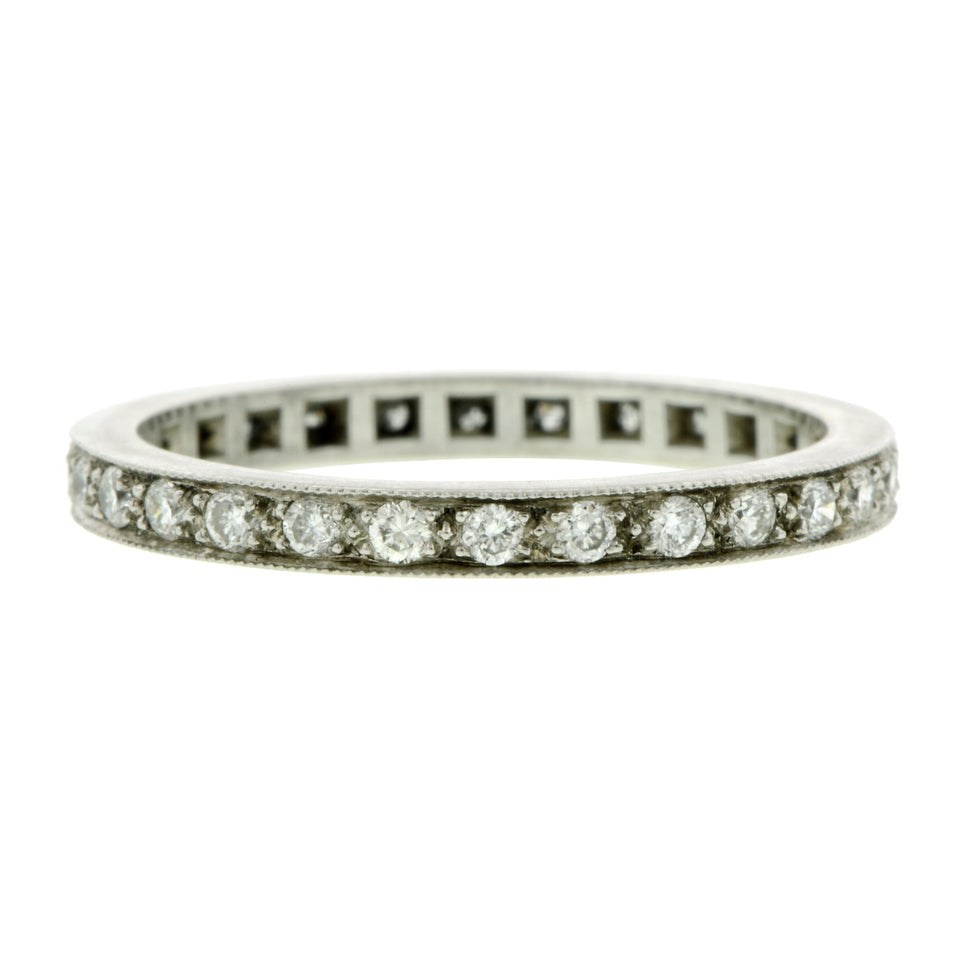 Bead Set Diamond Eternity Wedding Band Ring sold by Doyle & Doyle vintage and antique jewelry boutique.