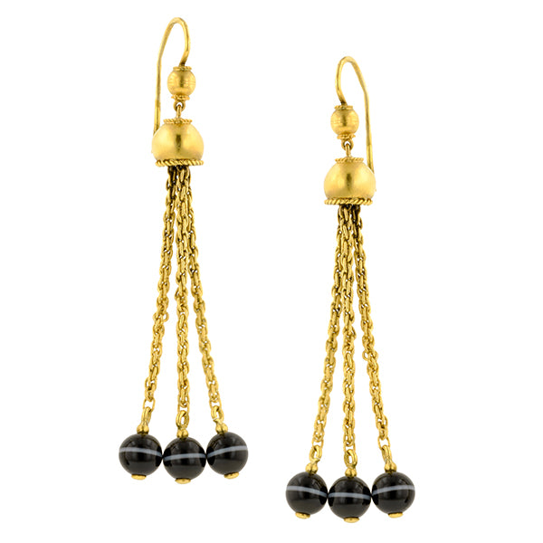 Victorian Banded Agate Tassel Drop Earrings