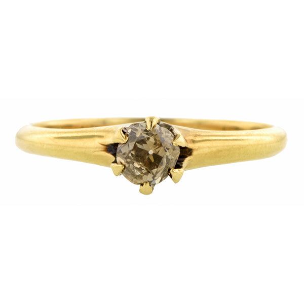 Victorian Brown Diamond Solitaire Engagement Ring, Old Mine 0.32ct:: Doyle & Doyle