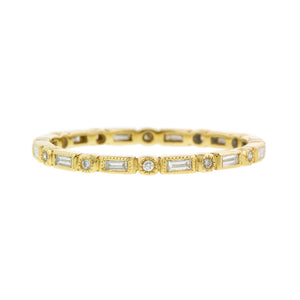 Baguette & Round Diamond Bezel Set Eternity Wedding Band Ring sold by Doyle & Doyle vintage and antique jewelry boutique.