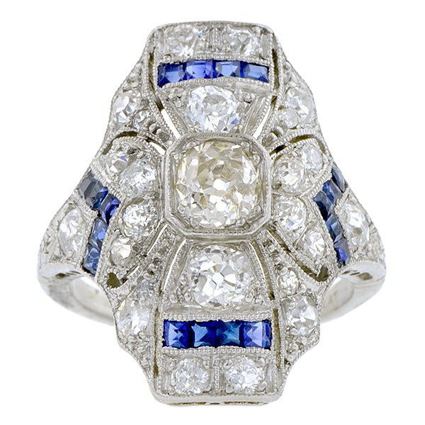 Art Deco Diamond Sapphire Dinner Ring, Old Euro 0.47ct:: Doyle & Doyle
