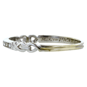 Vintage ring: a White Gold Diamond Wedding Band sold by Doyle & Doyle vintage and antique jewelry boutique.