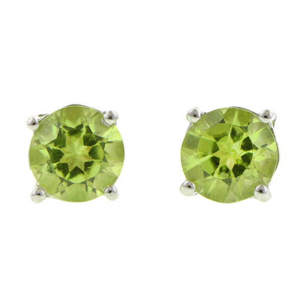 Peridot stud earrings, RBC; 0.52ctw:: Doyle & Doyle