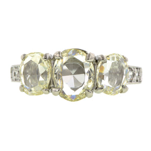 Rose Cut Three Stone Diamond Ring
