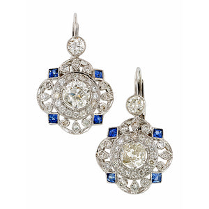 Diamond & Sapphire Filigree Drop Earrings :: Doyle & Doyle
