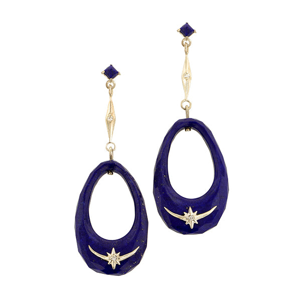 Lapis Hoop Drop Earrings- Heirloom by Doyle & Doyle::