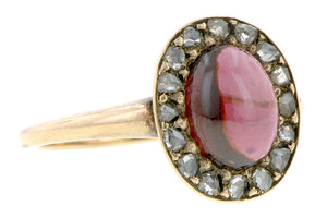 Garnet Cabochon & Rose Cut Diamond Ring :: Doyle & Doyle