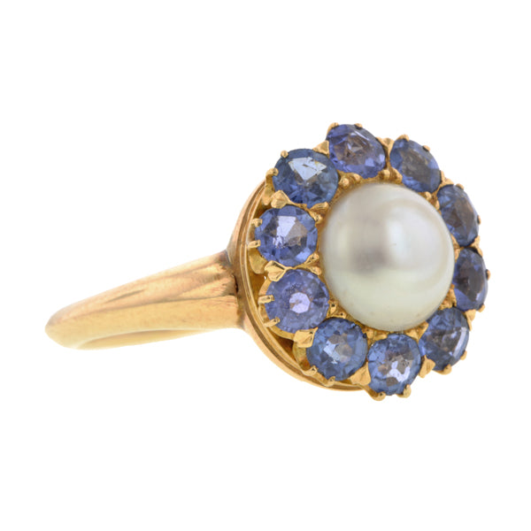 Victorian Pearl & Sapphire Ring:: Doyle & Doyle