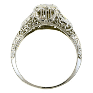 Art Deco Diamond Engagement Ring, RBC 0.15ct