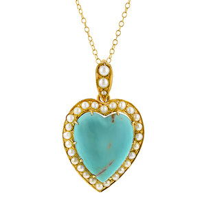 Victorian Turquoise & Pearl Pendant