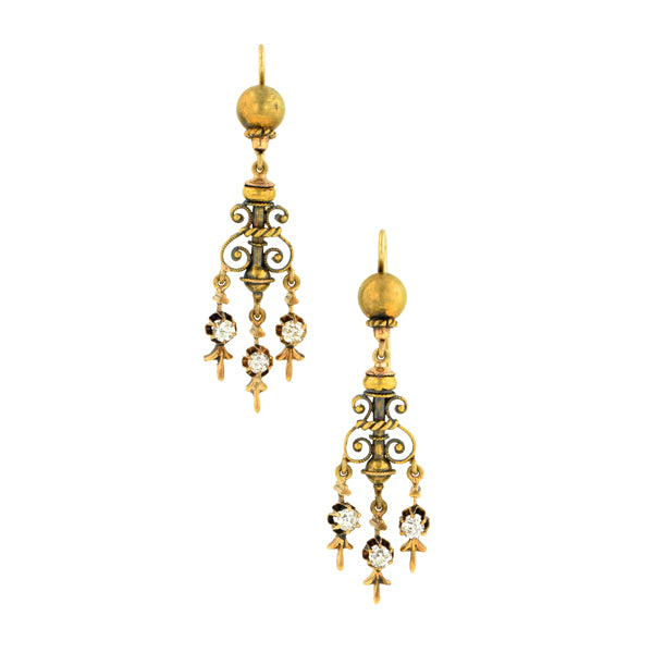 Victorian Diamond Drop Earrings::Doyle & Doyle