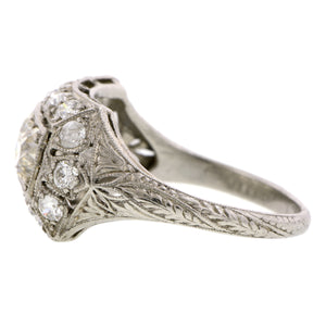 Art Deco Three Stone Diamond Ring::Doyle & Doyle