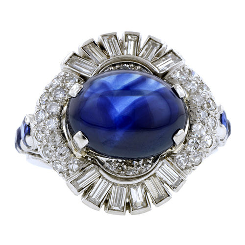 Vintage Sapphire & Diamond Cocktail Ring