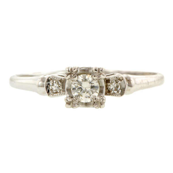 Vintage Engagement Ring, RBC 0.15ct