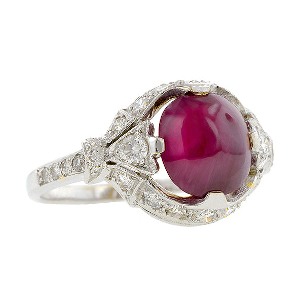 Cabochon Ruby & Diamond Ring