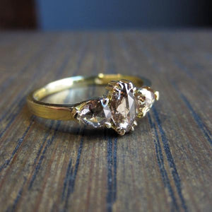 Marquise & Pear Shaped Brown Rose Cut Diamond Ring:: Doyle & Doyle