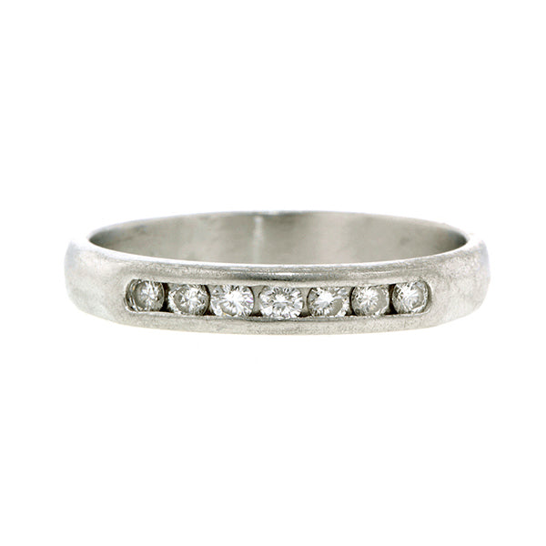 Vintage Wedding Band, Diamond and Platinum, sold by Doyle & Doyle vintage and antique jewelry boutique.