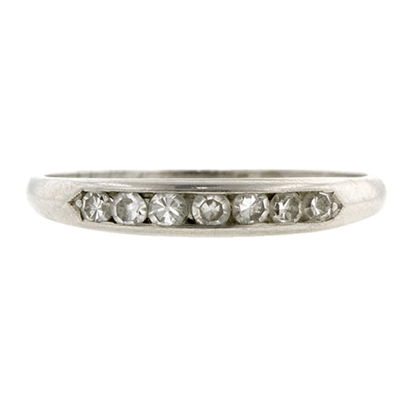 Vintage Wedding Band Ring, Diamond and Platinum, sold by Doyle & Doyle vintage and antique jewelry boutique.