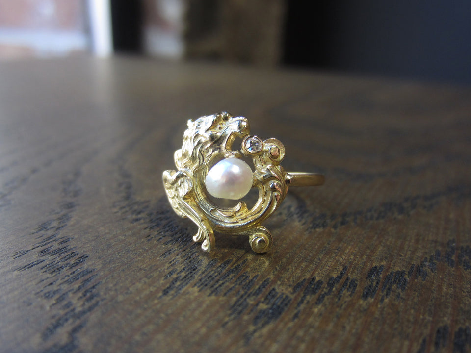 Art Nouveau Pearl & Diamond Griffin Ring:: Doyle & Doyle