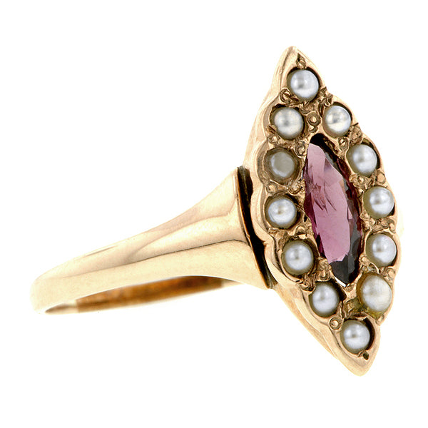 Victorian Marquise Garnet & Pearl Ring:: Doyle & Doyle