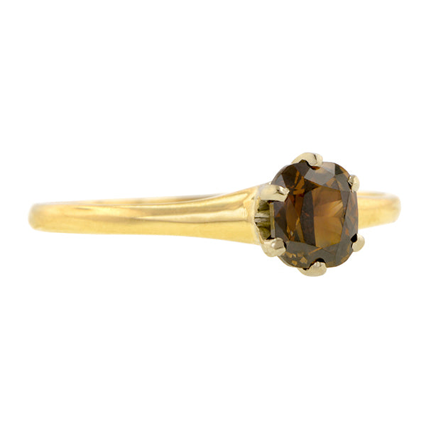 Vintage Fancy Brown Diamond Solitaire Engagement Ring, Cushion 0.56ct