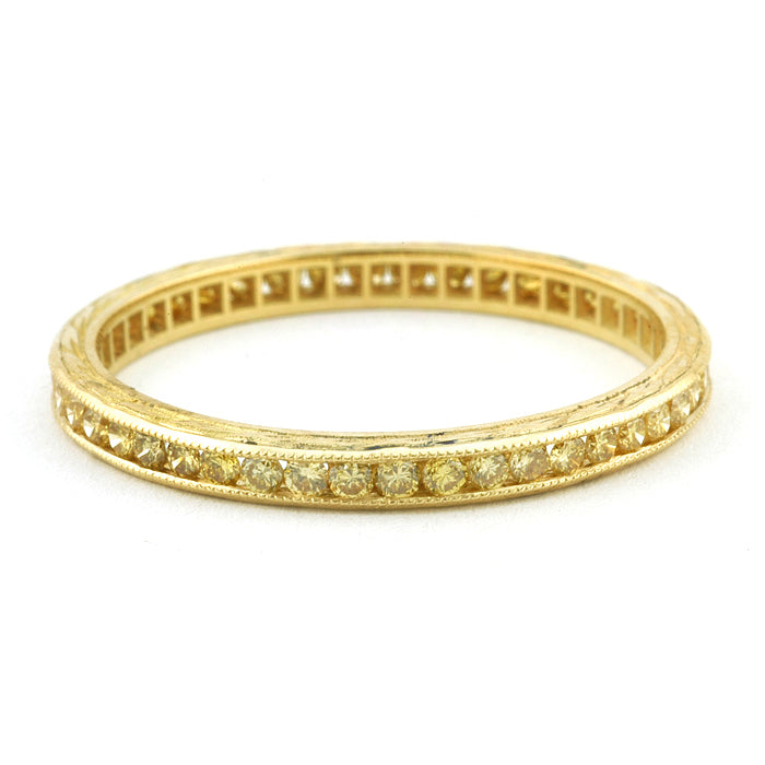 Channel Set Yellow Diamond Eternity Wedding Band