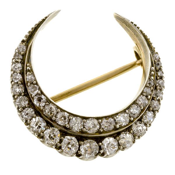 Victorian Diamond Crescent Pin