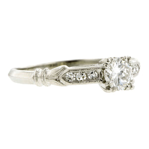 Vintage Engagement Ring, RBC 0.43ct::