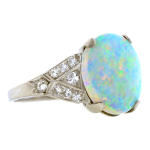Art Deco Opal & Diamond Ring