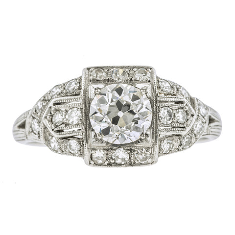 Art Deco Diamond Engagement Ring, Old Euro 0.78ct