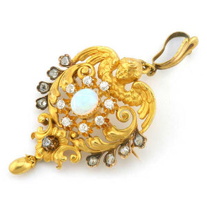 Antique Opal & Diamond Angel Pendant