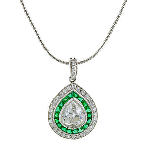 Pear Shape Diamond & Emerald Pendant