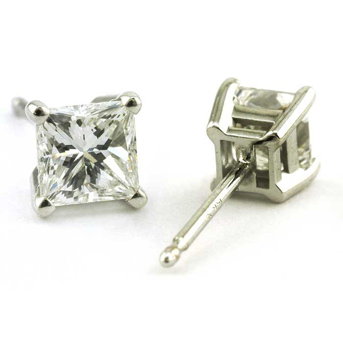 Princess Cut Diamond Stud Earrings, 1ctw