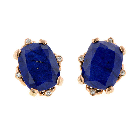 Cushion Lapis & Diamond Earrings- Heirloom by Doyle & Doyle::