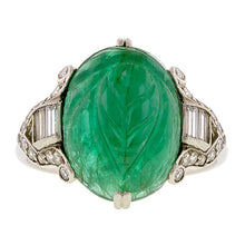 Art Deco Carved Emerald Diamond Ring