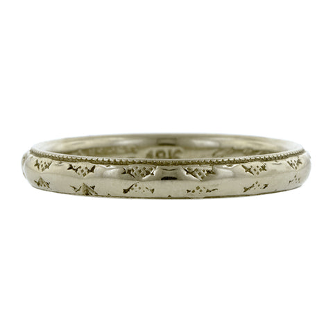 Vintage ring; a White Gold Patterned Wedding Band sold by Doyle & Doyle vintage and antique jewelry boutique.