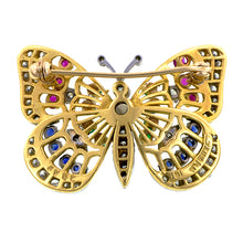 Vintage Diamond, Emerald, Ruby & Sapphire Butterfly Brooch:: Doyle & Doyle