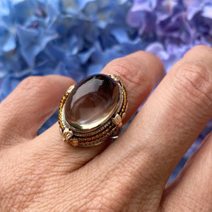 Vintage Filigree Smokey Quartz Ring sold by Doyle and Doyle an antique and vintage jewelry boutique