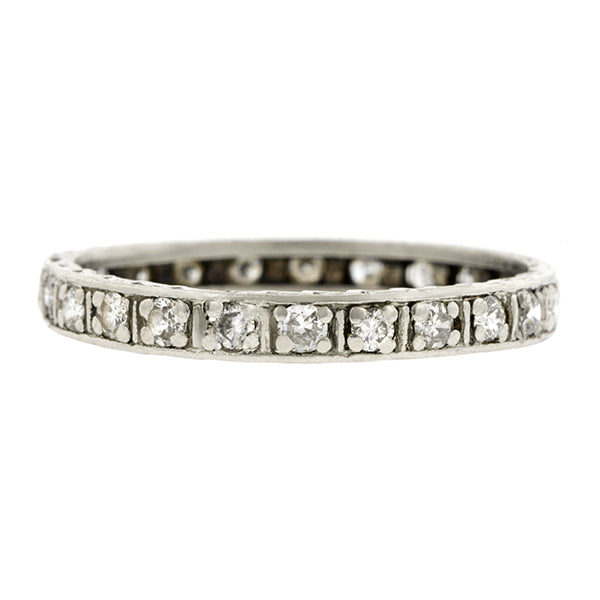 Vintage Eternity Wedding Band Ring, Diamond and Platinum, sold by Doyle & Doyle vintage and antique jewelry boutique.