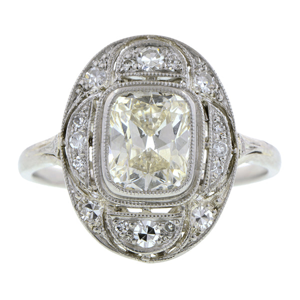 Vintage Diamond Engagement Ring, Cushion 1.54ct