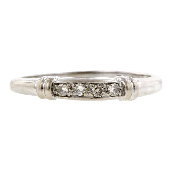 Vintage ring; a White Gold Diamond Wedding Band sold by Doyle & Doyle vintage and antique jewelry boutique.