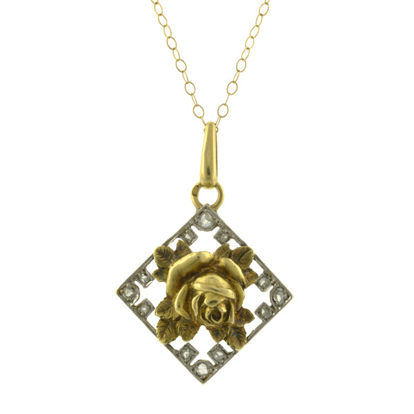 Vintage Diamond Flower Pendant