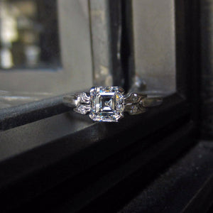 Art Deco Diamond Engagement Ring, Asscher Cut 1.00ct:: Doyle & Doyle