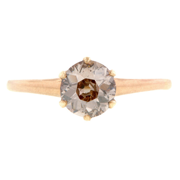 Antique Solitaire Pinkish Brown Diamond Engagement Ring:: Doyle & Doyle
