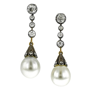 Antique Pearl & Diamond Earrings:: Doyle & Doyle