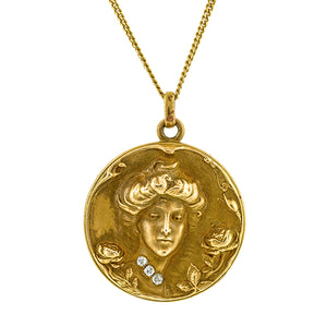 Art Nouveau Lady's Profile Locket:: Doyle & Doyle